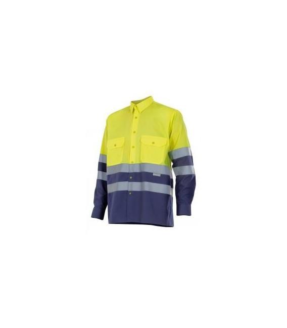 Camisa bicolor manga larga