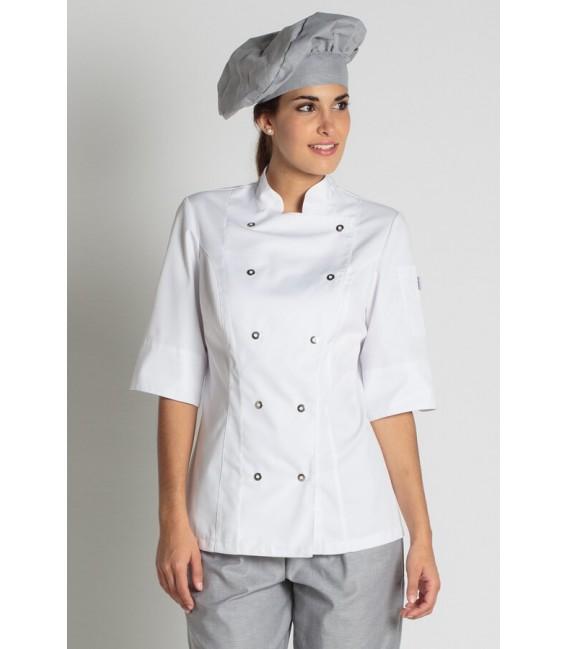 Comprar chaqueta de cocinera blanca marca Dyneke