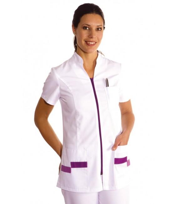 Comprar chaqueta de uniforme sanitario de color lila para comercios