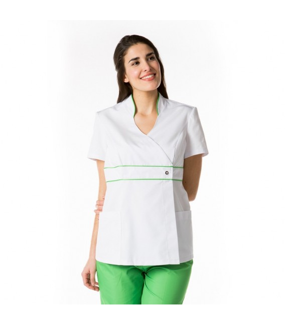 Chaqueta manga corta blanca-verde mod. 8299-854