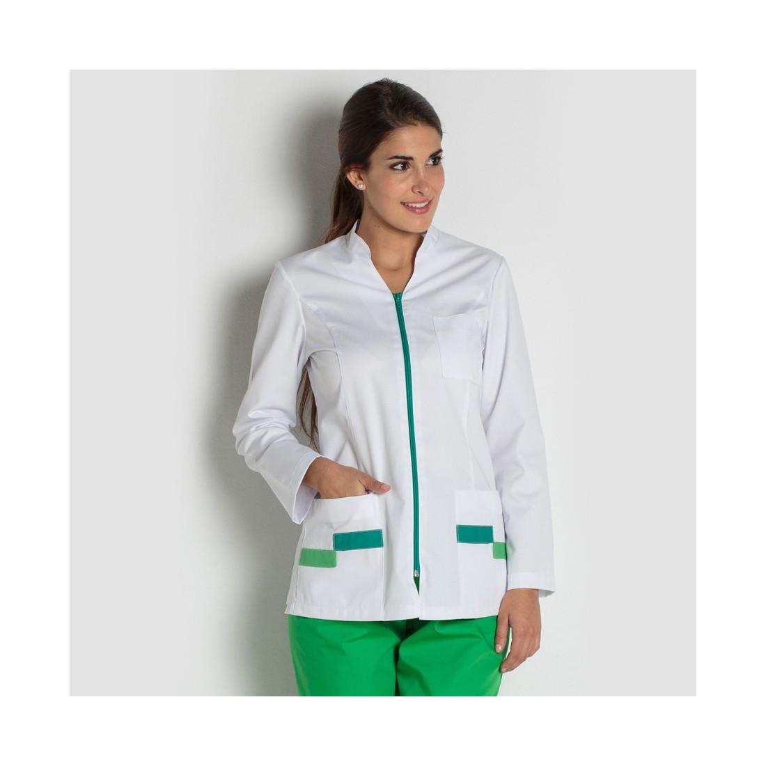 Chaqueta sanitaria blanca y verde con cremallera
