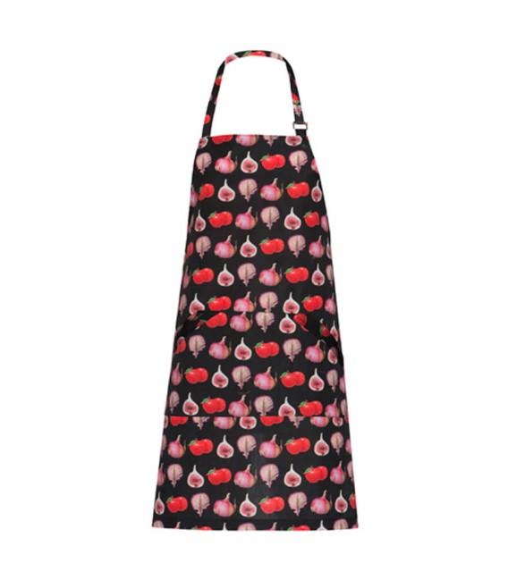 Delantal de cocina con peto estampado frutas