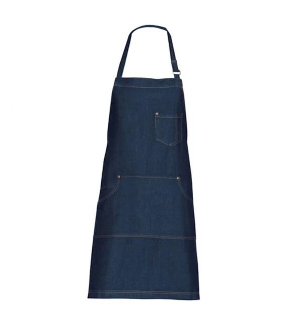Delantal de cocina con peto multibosillos tipo Denim