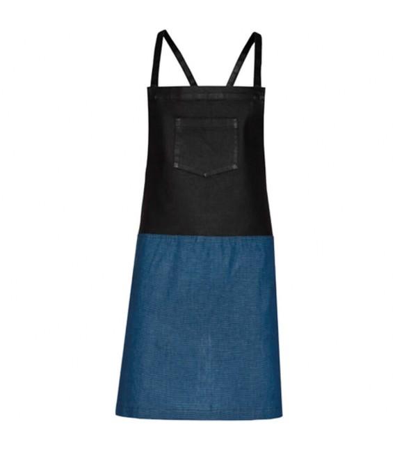 Delantal de cocina con peto combinado cuadrillé-encerado
