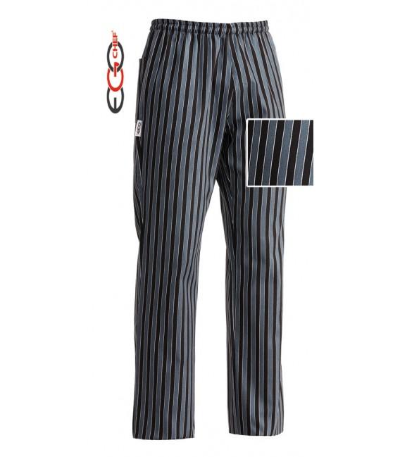 Pantalón cocinero rallado negro/gris