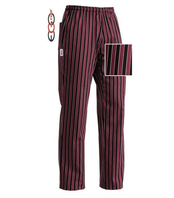 Pantalón cocinero rallado rojo/negro