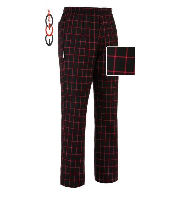 Pantalón cocinero cuadros rojos