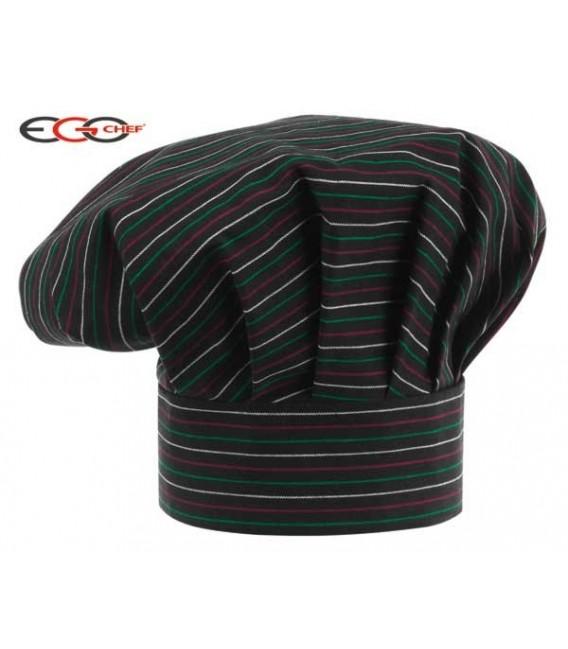 Sombrero cocinero negro con rallas de colores