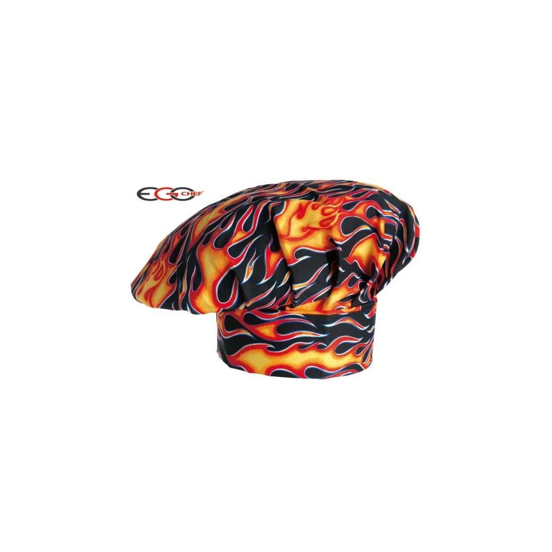 Gorro cocinero color negro y motivo de llamas