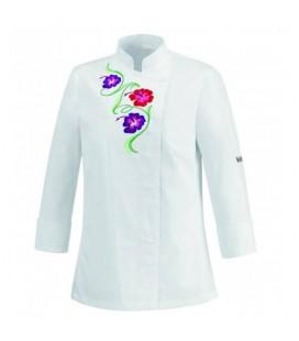 Casaca para señora flowers white