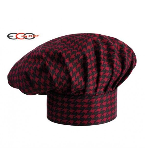Gorro cocinero cuadro rojo/negro
